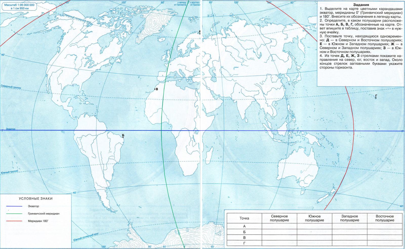 Страница 8 - 9. Ориентирование. Стороны горизонта - Контурные карты по географии. 5 класс. Дрофа