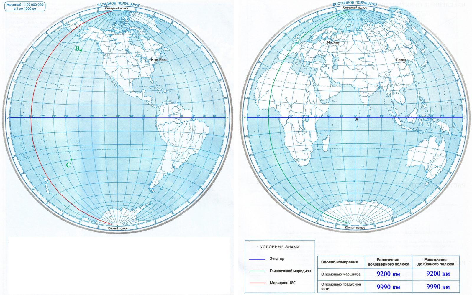 Страница 10 - 11. Градусная сеть - Контурные карты по географии. 5 класс. Дрофа