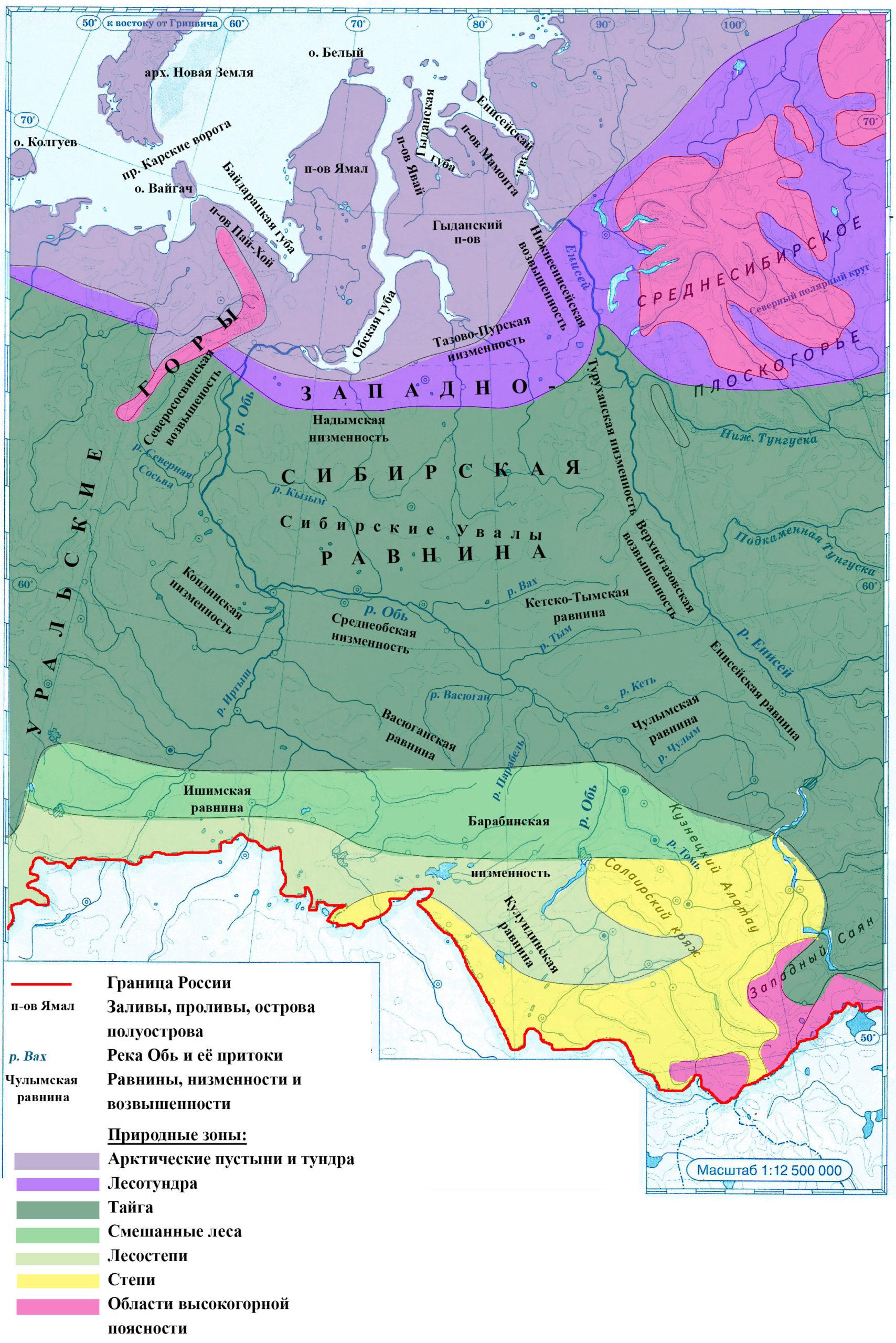 Страница 13. Западная Сибирь - Контурные карты по географии. 8 класс. Дрофа
